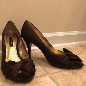 Chocolate Brown Peep Toe Heel